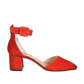 Zapato abierto a punta para mujer con cinturon en gamuza roja tacon 5 - Tallas disponibles:  33, 34, 43, 44, 45, 46