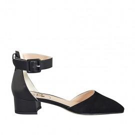 Scarpa aperta a punta da donna con cinturino alla caviglia in camoscio e pelle nera tacco 3 - Misure disponibili: 32, 33, 34, 42, 43, 44, 45