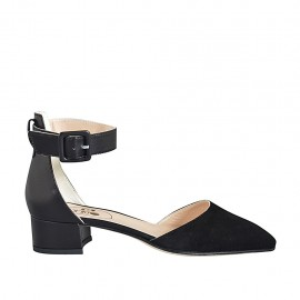 ?Zapato abierto a punta para mujer con cinturon al tobillo en piel y gamuza negra tacon 3 - Tallas disponibles:  32, 33, 34, 42, 43, 44, 45