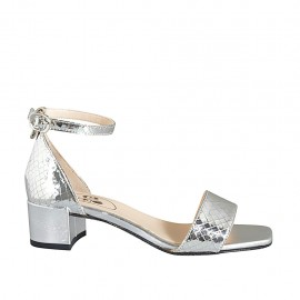 Woman's open shoe with strap in silver laminated printed leather heel 4 - Available sizes:  32, 33, 34, 42, 43, 44, 45, 46