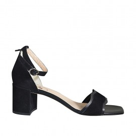 Offener Damenschuh mit Knöchelriemchen aus schwarzem Leder und Wildleder Absatz 7 - Verfügbare Größen:  42, 43, 44, 45, 46