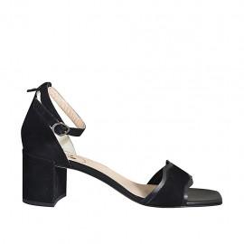 Zapato abierto para mujer con cinturon al tobillo en piel y gamuza negra tacon 7 - Tallas disponibles:  42, 43, 44, 45, 46