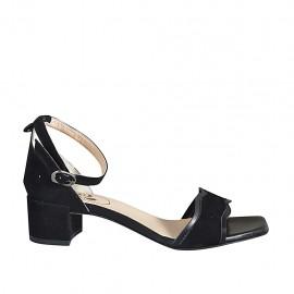 ?Offener Damenschuh mit Knöchelriemchen aus schwarzem Leder und Wildleder Absatz 4 - Verfügbare Größen:  32, 33, 34