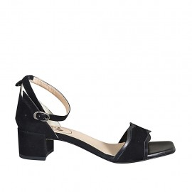 Woman's open shoe with anklestrap in black leather and suede heel 4 - Available sizes:  32, 33, 34