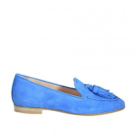 ?Woman's mocassin in cornflower blue suede with tassels heel 1 - Available sizes:  34, 43, 44, 45