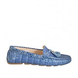 Damenmokassin mit herausnehmbarer Innensohle und Quasten aus blauem bedrucktem Leder  - Verfügbare Größen:  43, 44, 45