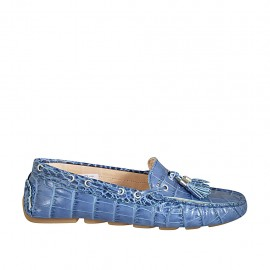 Woman's loafer with removable insole and tassels in blue printed leather  - Available sizes:  33, 34, 42, 43, 44, 45, 46
