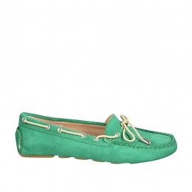 Woman's laced car shoe with removable insole in emerald green suede - Available sizes:  33, 34, 43, 44, 45, 46
