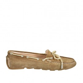Woman's laced car shoe with removable insole in beige suede - Available sizes:  33, 34, 43, 44