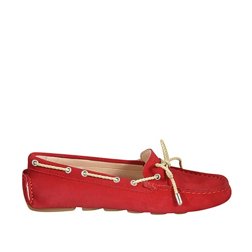 ?Woman's laced car shoe with removable insole in red suede - Available sizes:  33, 42, 43, 44, 45, 46