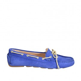 ?Woman's laced car shoe with removable insole in blue suede - Available sizes:  34, 42, 43, 44, 45, 46