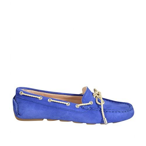 Damenmokassin mit Schnüren und herausnehmbarer Innensohle aus blauem Wildleder - Verfügbare Größen:  34, 42, 43, 45