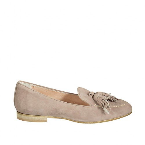 Woman's loafer with tassels in taupe suede heel 1 - Available sizes:  33, 34, 42, 43, 44, 45, 46