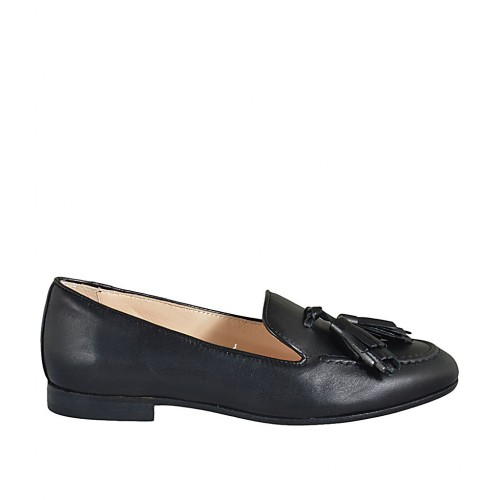 Woman's loafer with tassels in black leather heel 1 - Available sizes:  33, 34, 42, 43, 44, 45, 46