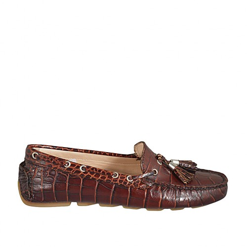 Woman's loafer with removable insole and tassels in brown printed leather  - Available sizes:  33, 34, 42, 43, 44, 45, 46