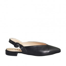 Woman's pointy slingback pump in black leather heel 2 - Available sizes:  34, 42, 43, 44, 45, 46