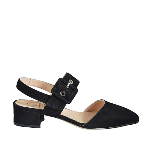 Woman's slingback pump with buckle in black suede heel 4 - Available sizes:  32, 33, 34, 42, 43, 44, 45, 46