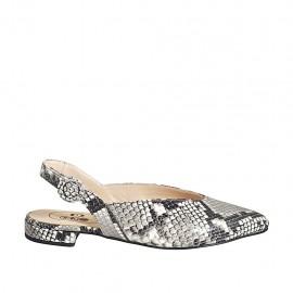 Zapato destalonado a punta para mujer en piel imprimida multicolor tacon 2 - Tallas disponibles:  33, 34, 42, 43, 44, 45, 46