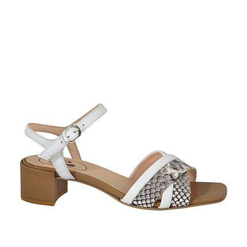 Woman's strap sandal in white and tan leather and grey printed leather heel 4 - Available sizes:  32, 33, 34