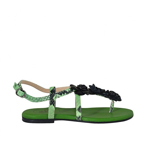 Woman's flip-flop sandal with flowers in black and green printed leather heel 1 - Available sizes:  33, 34, 42, 43, 44, 45, 46