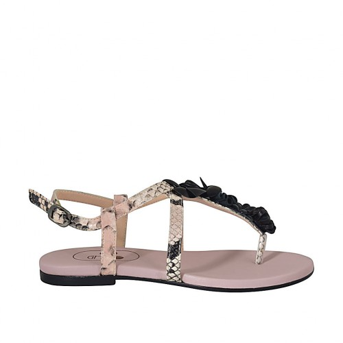 ?Woman's flip-flop sandal with flowers in black and rose printed leather heel 1 - Available sizes:  33, 34, 42, 43, 44, 45, 46