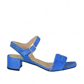 ?Woman's sandal with strap in cornflower blue suede and printed leather heel 4 - Available sizes:  32, 34, 42, 43, 44, 45, 46
