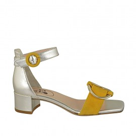 Woman's open shoe with accessory and strap in platinum laminated leather and yellow suede heel 4 - Available sizes:  32, 33, 34, 42, 43, 44, 45, 46