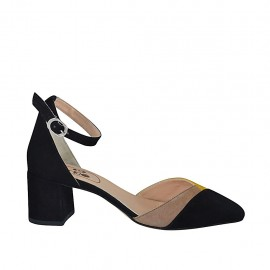 Woman's open shoe with strap in black, yellow and beige suede heel 5 - Available sizes:  32, 34, 42, 43, 44, 45, 46