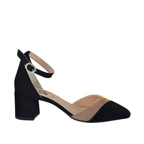 Woman's open shoe with strap in black, yellow and beige suede heel 5 - Available sizes:  32, 33, 34, 42, 43, 44, 45, 46