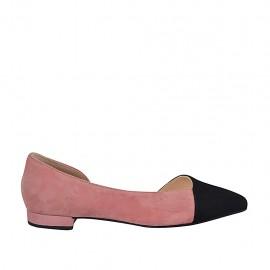 Zapato de salon para mujer con corte lateral en gamuza negra y rosa tacon 2 - Tallas disponibles:  33, 34, 42, 43, 44, 45, 46