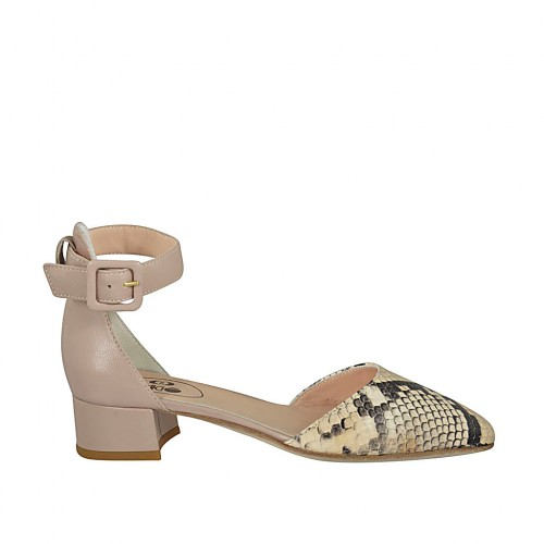 Woman's open shoe with strap in nude and multicolored printed leather heel 3 - Available sizes:  32, 33, 34, 42, 43, 44, 45, 46