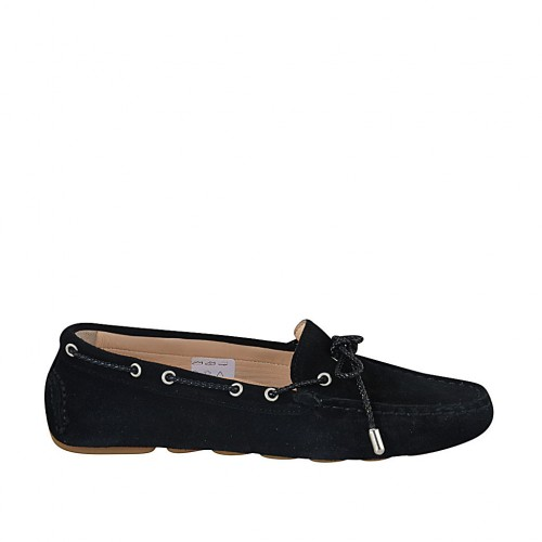 Woman's laced car shoe with removable insole in black suede - Available sizes:  33, 34, 42, 43, 44, 46