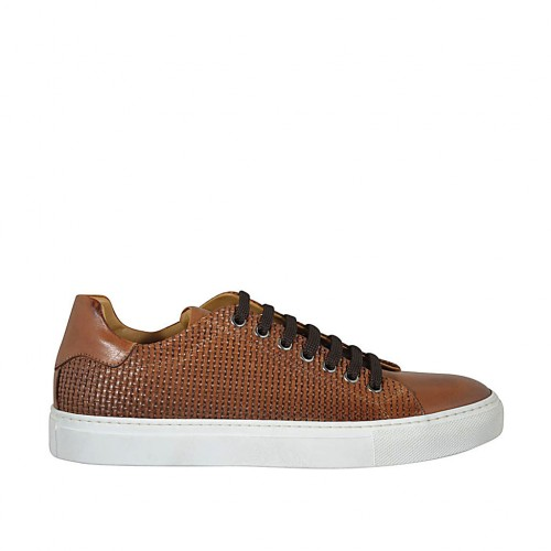 Man's laced shoe with removable insole in tan leather and braided leather - Available sizes:  36, 37, 38, 46, 47, 48, 49, 50