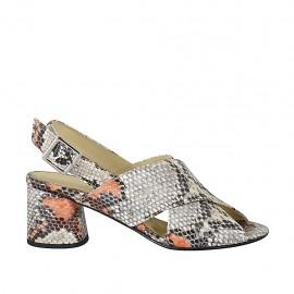 Sandalo da donna in pelle stampata multicolore con tacco 5 - Misure disponibili: 32, 33, 34, 42, 43, 44, 45