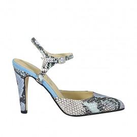 Zapato destalonado para mujer con cinturon en piel estampada multicolor y gamuza azul claro tacon 9 - Tallas disponibles:  32, 33, 34, 42, 43, 44, 45