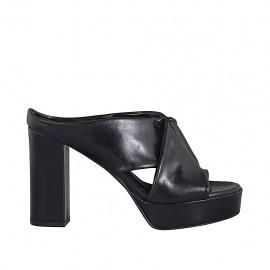 Damenpantoletten aus schwarzem Leder mit Plateau und Absatz 10 - Verfügbare Größen:  32, 33, 34, 42