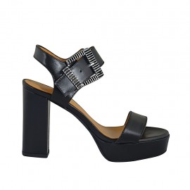 Woman's sandal in black leather with buckle, platform and heel 9 - Available sizes:  32, 33, 34, 42, 43, 44, 45, 46