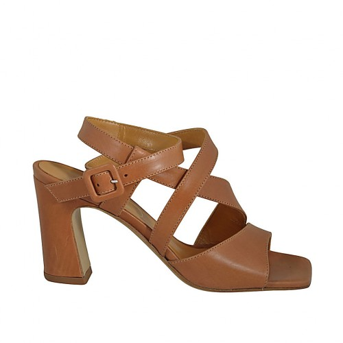 Woman's sandal with anklestrap in tan brown leather heel 8 - Available sizes:  32, 33, 34, 42, 43, 44, 46