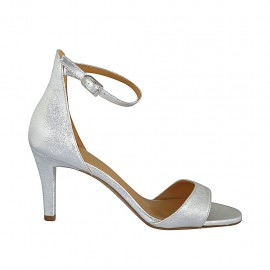 Woman's open shoe with strap in silver laminated leather heel 7 - Available sizes:  32, 33, 34, 42, 43, 44, 46