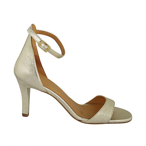 Woman's open shoe with strap in platinum laminated leather heel 7 - Available sizes:  32, 33, 34, 42, 43, 44, 45, 46