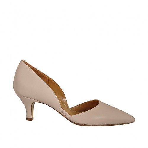 Woman's open shoe in nude leather heel 5 - Available sizes:  32, 33, 34, 42, 43, 45, 46