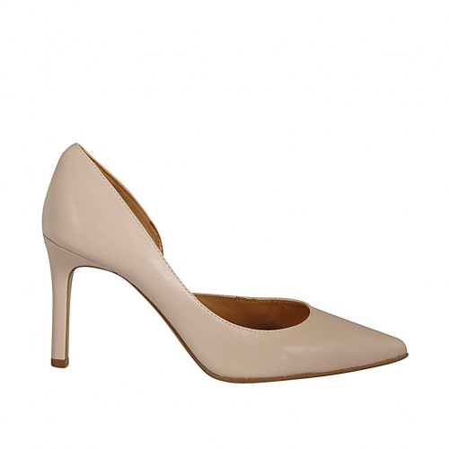 Woman's open shoe in nude leather heel 8 - Available sizes:  32, 34, 42, 43, 44, 45, 46