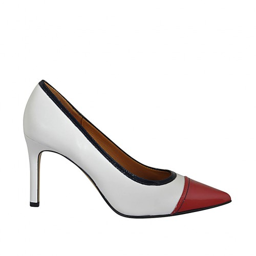 ?Woman's pump shoe in white leather and blue and red patent leather heel 8 - Available sizes:  33, 34, 42, 43, 44, 46