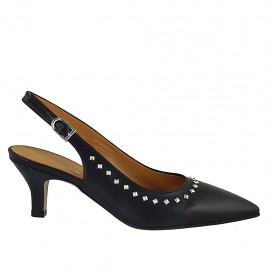 Woman's slingback pump with studs in black leather heel 5 - Available sizes:  32, 33, 34, 42, 43, 44, 45, 46