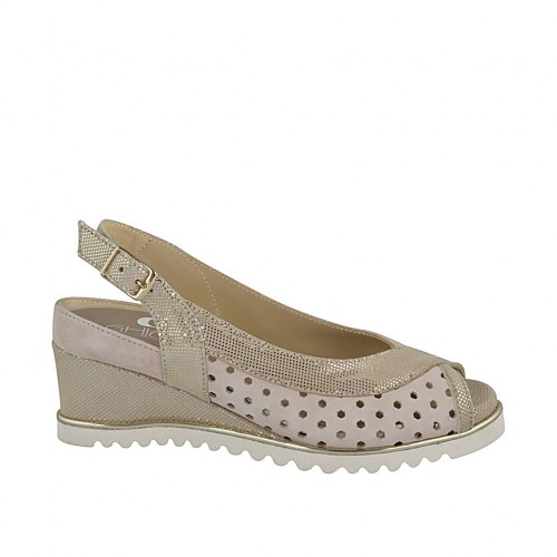Woman's sandal with removable insole in beige pierced and printed laminated platinum suede wedge heel 5 - Available sizes:  32, 34, 42, 43, 44, 45
