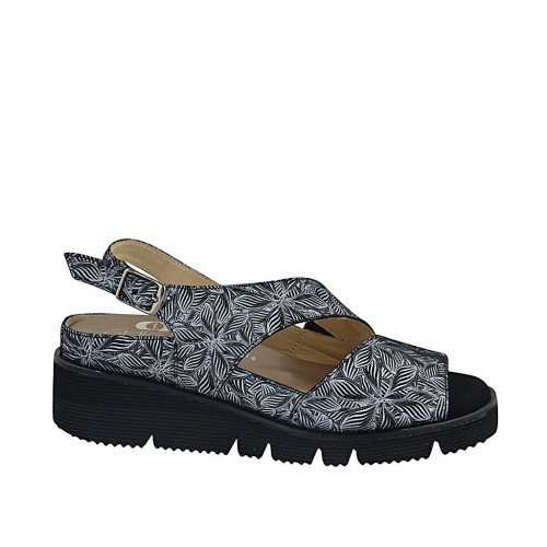 Woman's sandal with removable insole in black suede with white floral print wedge heel 4 - Available sizes:  33, 34, 42, 43, 44