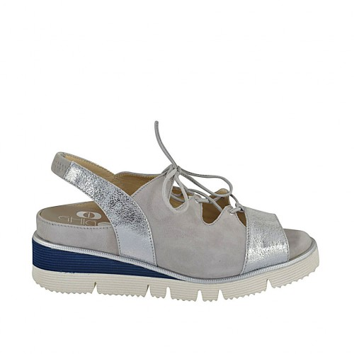 Woman's sandal with elastic band, laces and removable insole in grey suede and silver laminated leather wedge heel 4 - Available sizes:  33, 34, 42, 43, 44