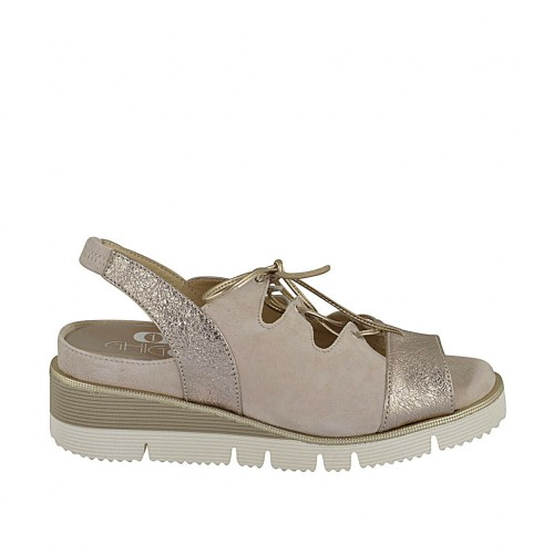 Woman's sandal with elastic band, laces and removable insole in beige suede and platinum laminated leather wedge heel 4 - Available sizes:  33, 34, 42, 43, 44, 45