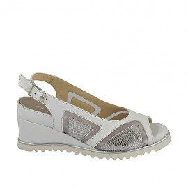Woman's sandal with removable insole in white leather and fabric and laminated silver leather wedge heel 5 - Available sizes:  32, 33, 42, 43, 44