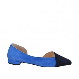 Woman's open shoe in blue and cornflower blue suede heel 2 - Available sizes:  33, 44, 46